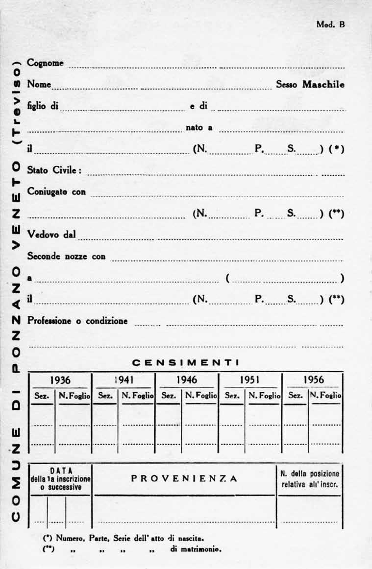 Fronte di un cartellino anagrafico per maschio